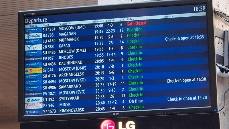 Основные правила регистрации в аэропорту - найдите табло
