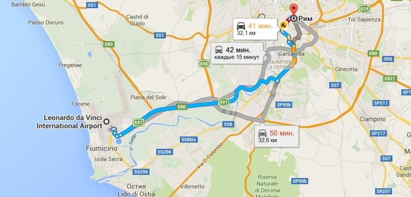Как добраться от центра рима до аэропорта фьюмичино