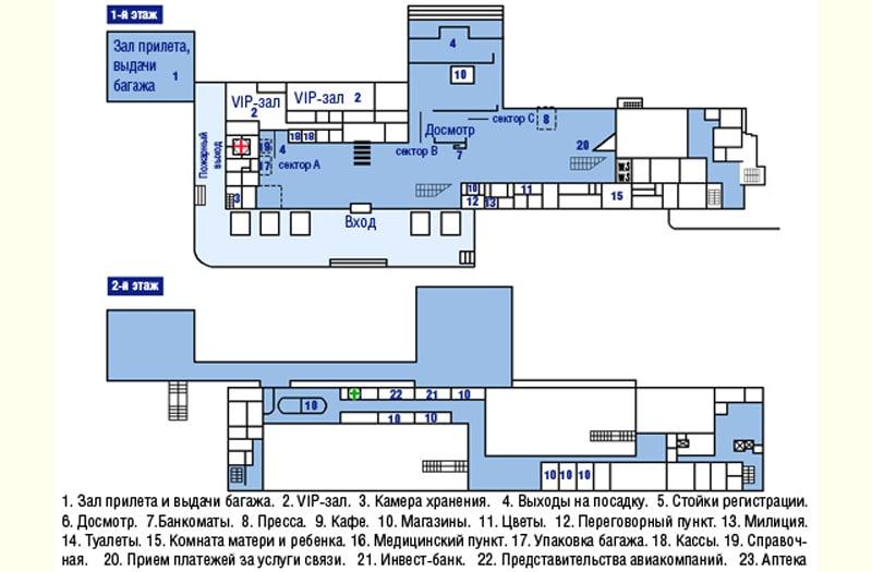 Схема аэропорта Храброво в Калининграде