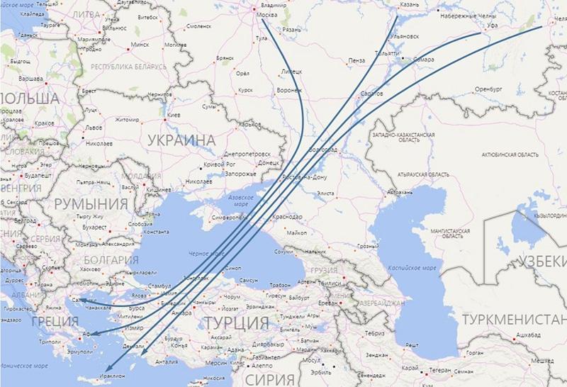 Сколько лететь до Греции из Москвы прямым рейсом