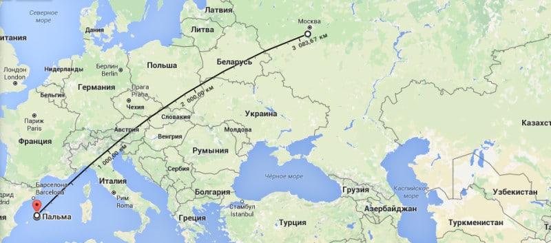 Майорка сколько лететь из москвы прямой