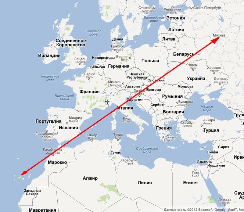 Cколько лететь до Канарских островов из Москвы
