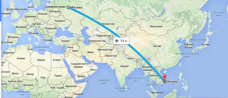Сколько лететь из красноярска до вьетнама нячанг