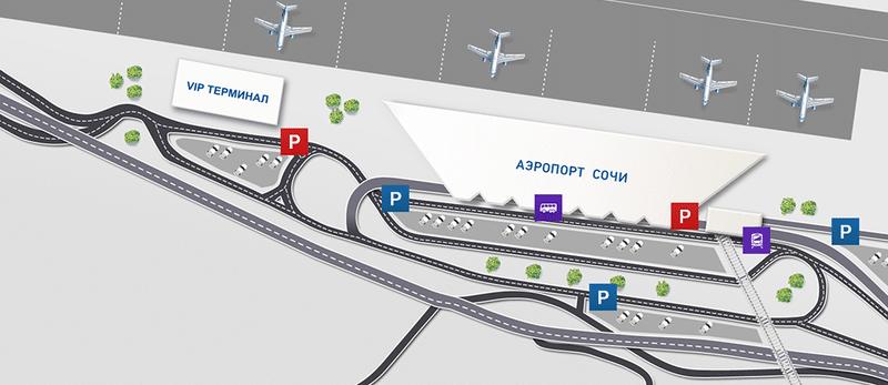 Аэропорт Сочи на карте Сочи