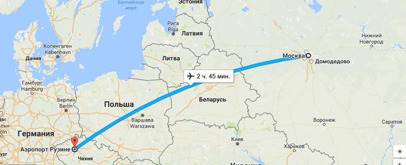 Время перелета Москва — Прага