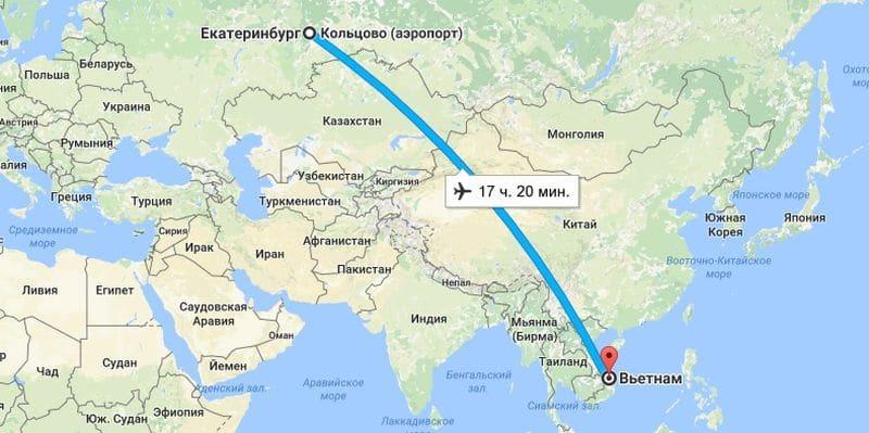 сколько часов лететь от Гоа до екатеринбурга