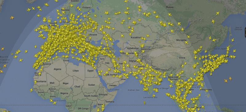 сколько самолетов в небе одновременно