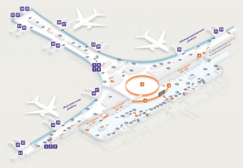 Схема терминала Д Шереметьево