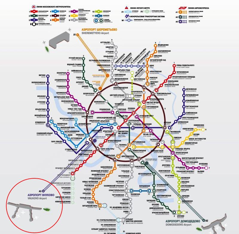 аэропорт Внуково на карте метро
