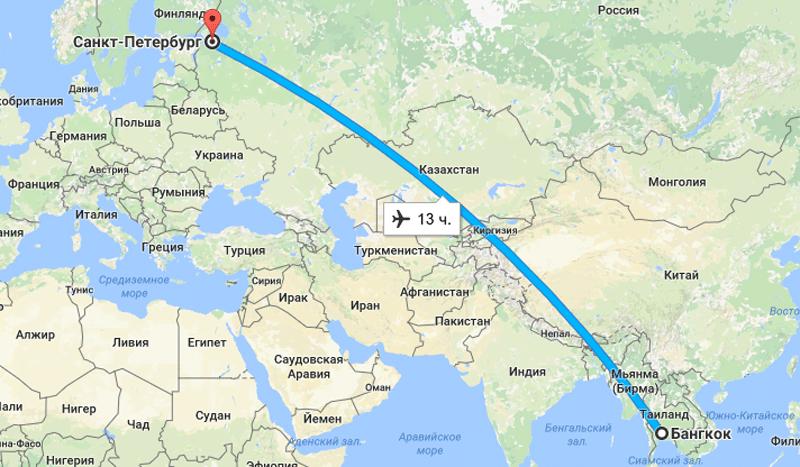 Сколько лететь от санкт петербурга до тайланда