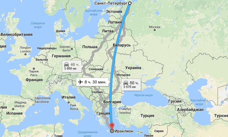 сколько лететь до Крита из Сакнт-Петербурга