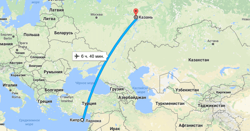 сколько лететь до Кипра из Казани