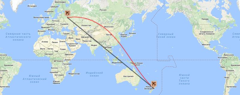 сколько лететь до Новой Зеландии из Москвы