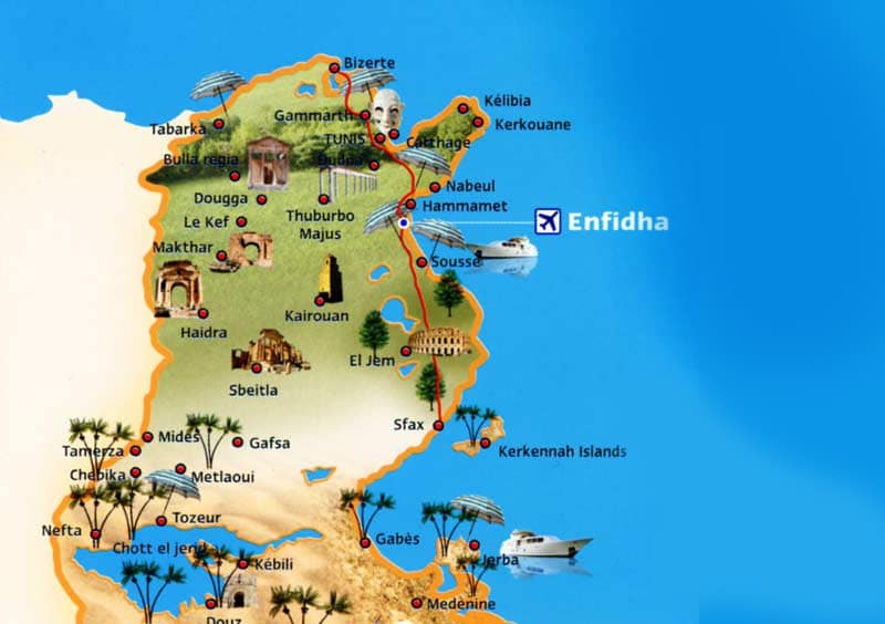 Аэропорт Энфида на карте