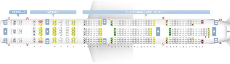 Схема салона Боинг 777-300 Эмирейтс