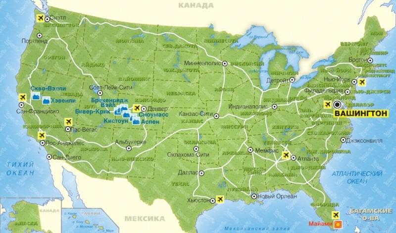 аэропорты США на карте