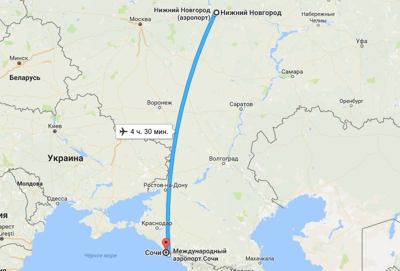 перелет Нижний Новогород - Сочи