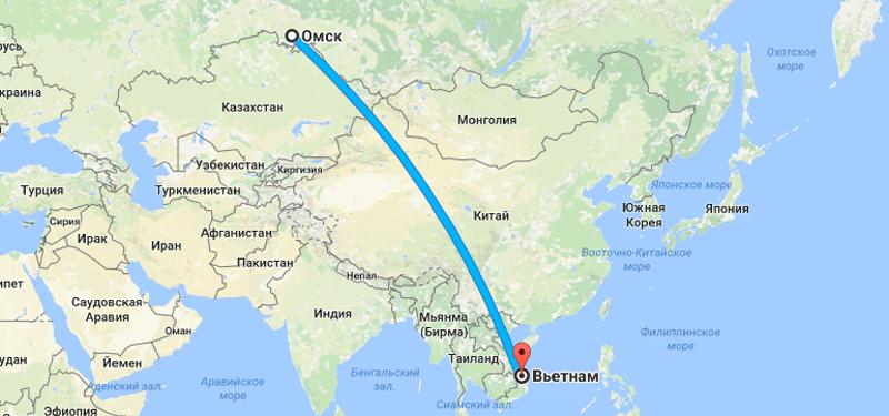 Сколько лететь до Вьетнама из Омска