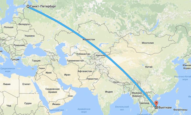 сколько лететь до Вьетнама из Санкт-Петербурга