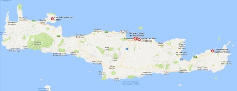Аэропорты Крита на карте