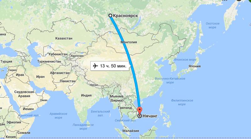 Время перелета Красноярск - Вьетнам