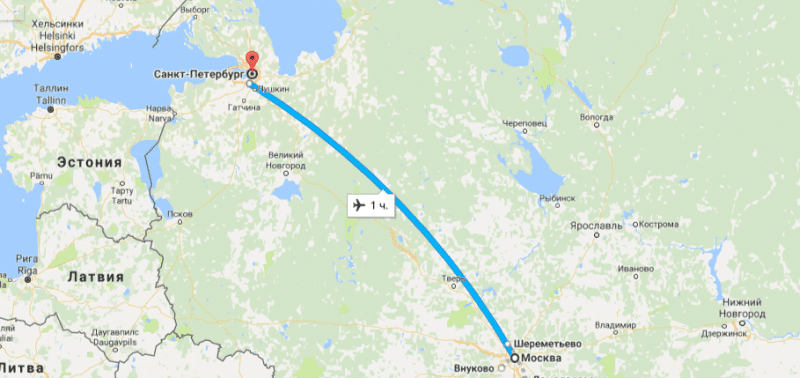 Стоимость билета на самолет Москва - Санкт-Петербург и время полета