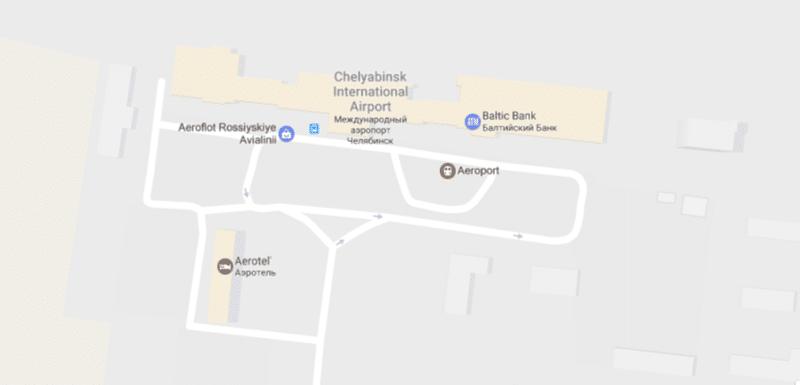 Аэропорт в Челябинске на карте