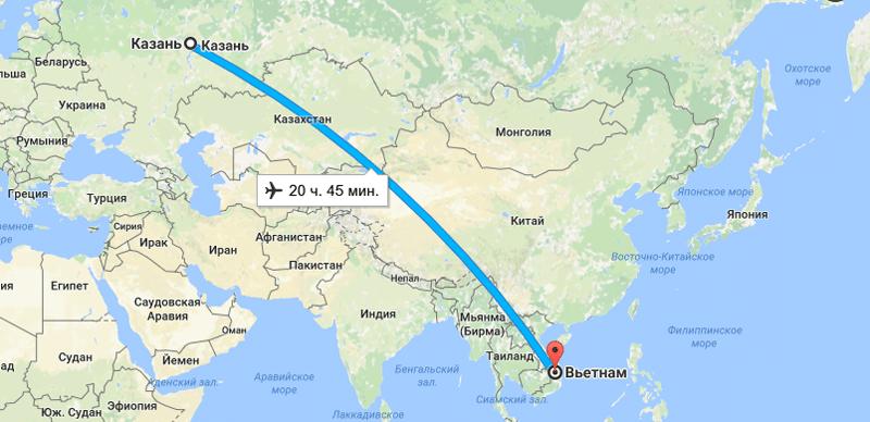 Сколько часов лететь во Вьетнам из Казани