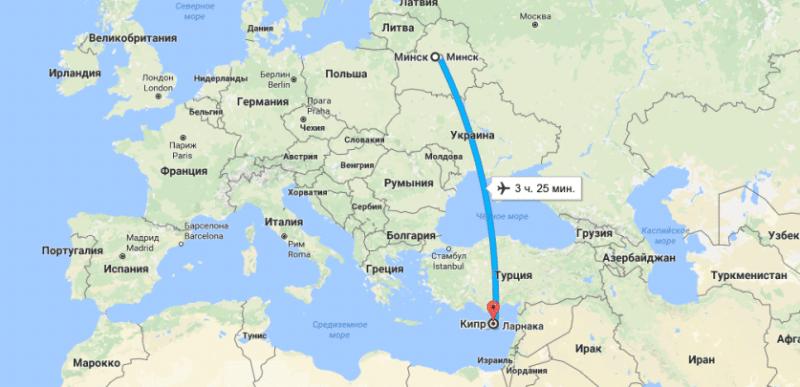 сколько лететь до Кипра из Минска