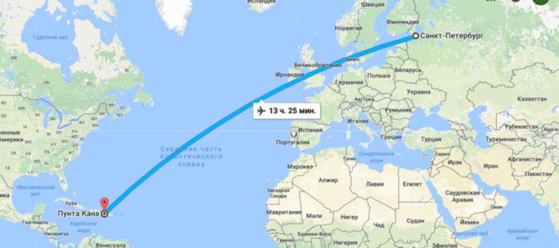 Сколько лететь до Пунта-Каны из Санкт-Петербурга