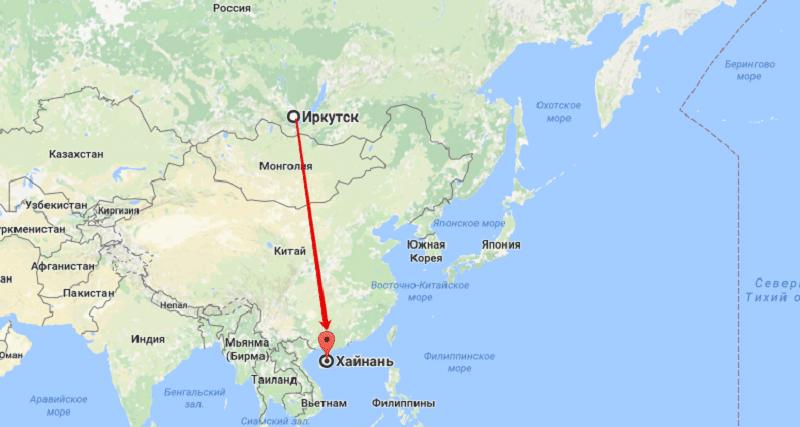 Сколько лететь до Хайнаня из Иркутска