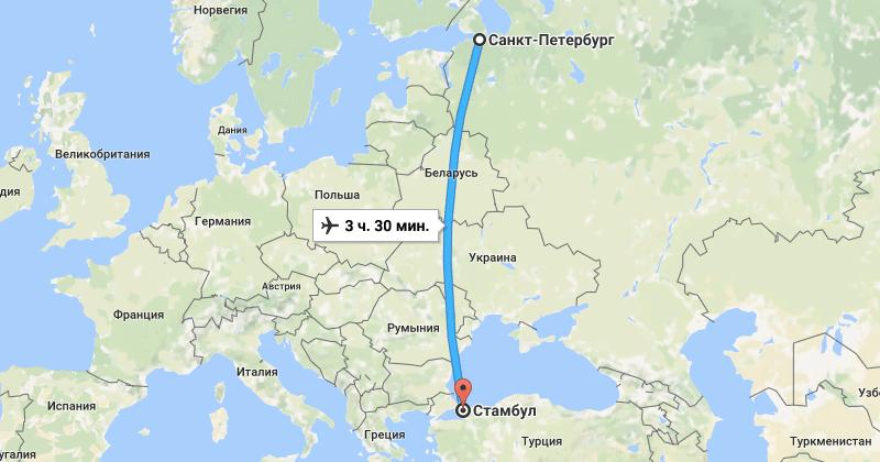 сколько лететь от санкт до Дубае