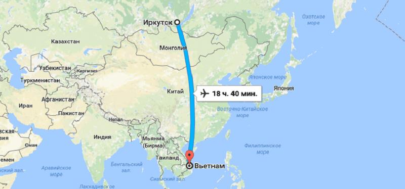 Время полета Иркутск - Вьетнам