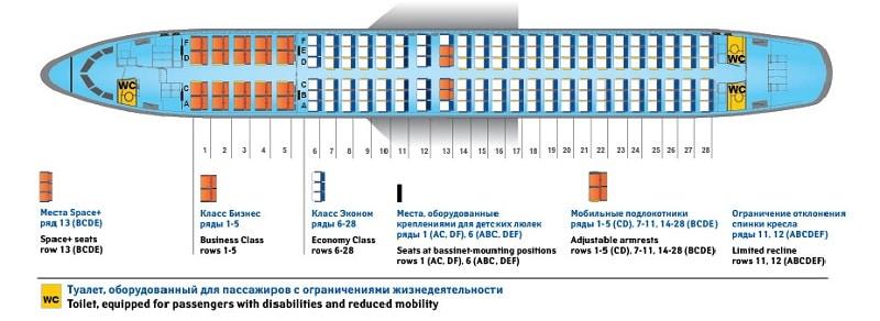 Боинг 738 схема салона авиакомпании Россия