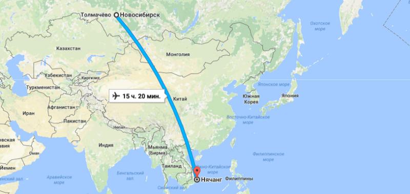 Сколько лететь до Вьетнама из Новосибирска