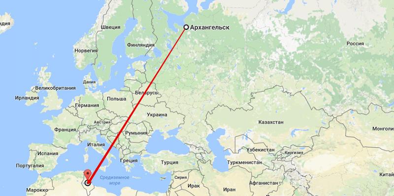 Сколько лететь в Тунис из Архангельска