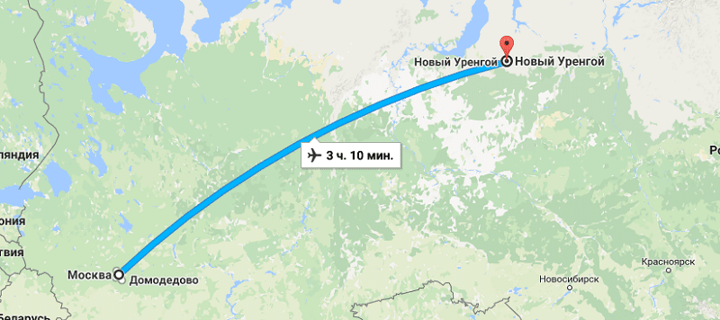 Сколько лететь до Нового Уренгоя из Москвы