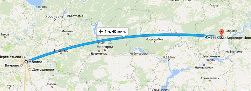 Время перелета Москва - Ижевск