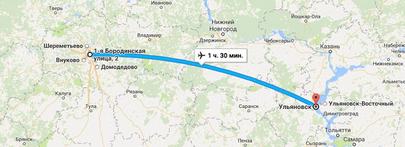 Время полета Москва - Ульяновск