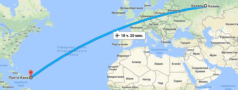 Время перелета Казань – Доминикана