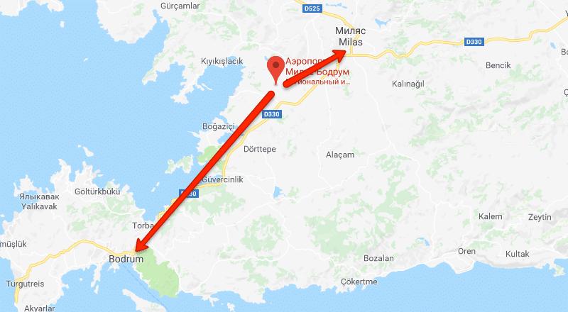 Аэропорт Бодрум Милас на карте
