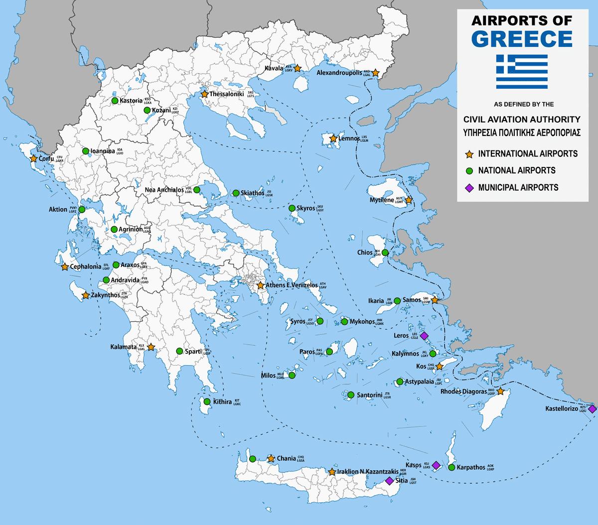 Аэропорты Греции на карте