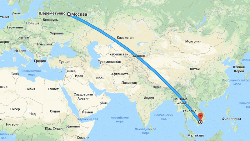 Москва - Хошимин сколько часов лететь