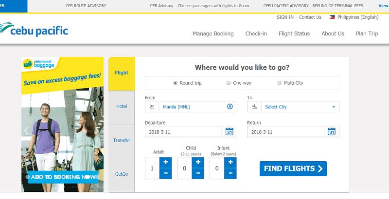 Cebu Pacific Airlines официальный сайт