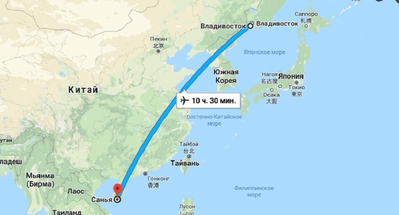 Перелет Владивосток - Санья время в пути